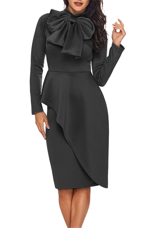 725243c8d5a Dokotoo Womens Plus Size Vintage Amazon Modest Ladies High Neck Long Sleeve  Ruffle Peplum Knee Length