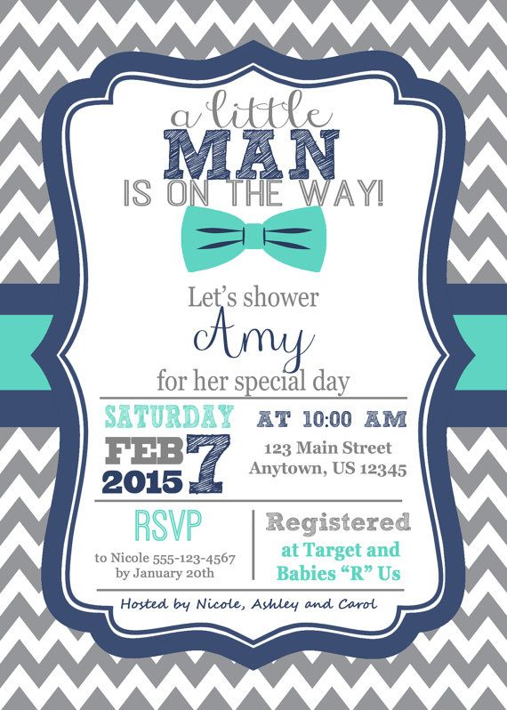Little Man Baby Shower Invitation Bowtie Invitation