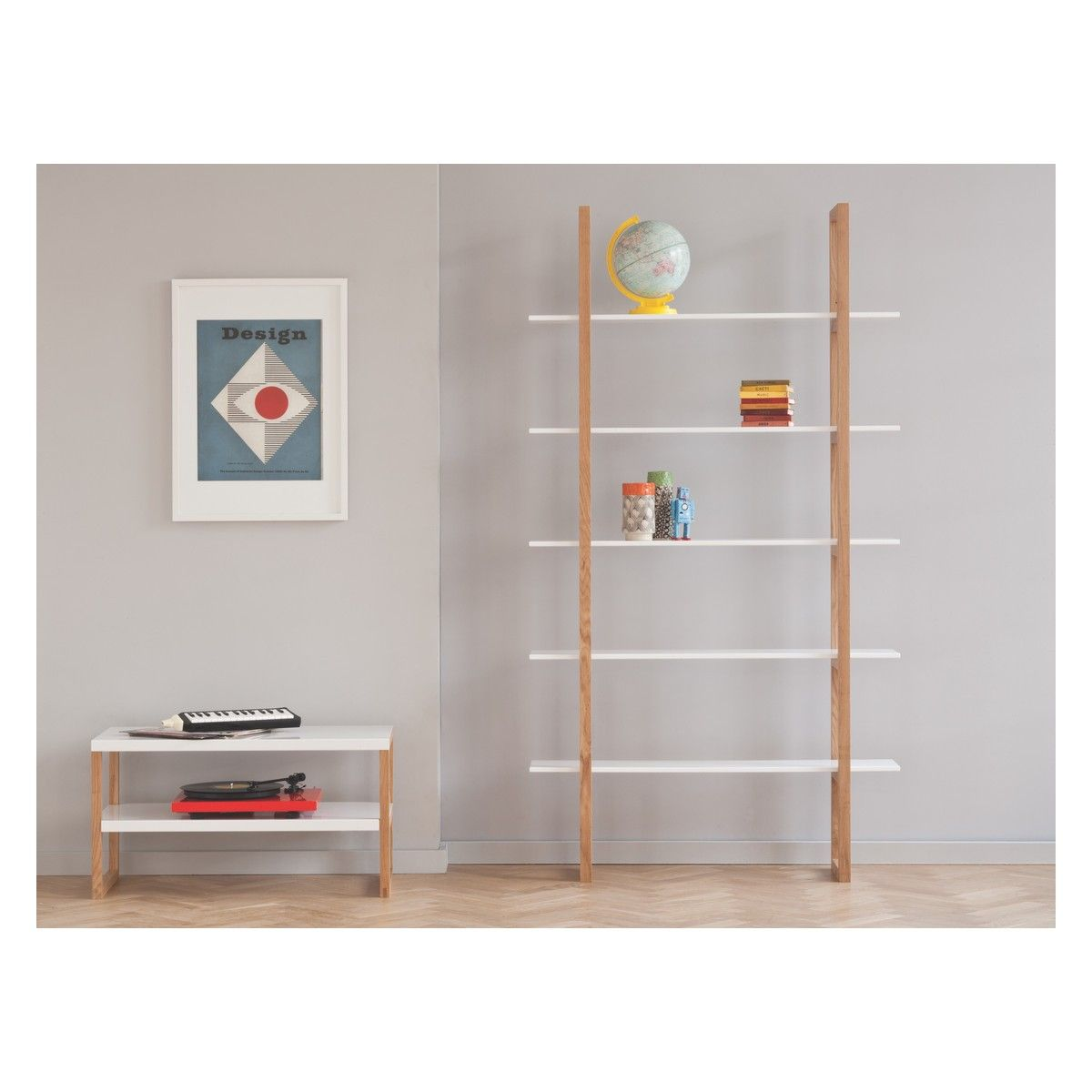 Loki White Solid Oak Wood Supports With 5 Lacquered Shelves Bookcase Habitatuk