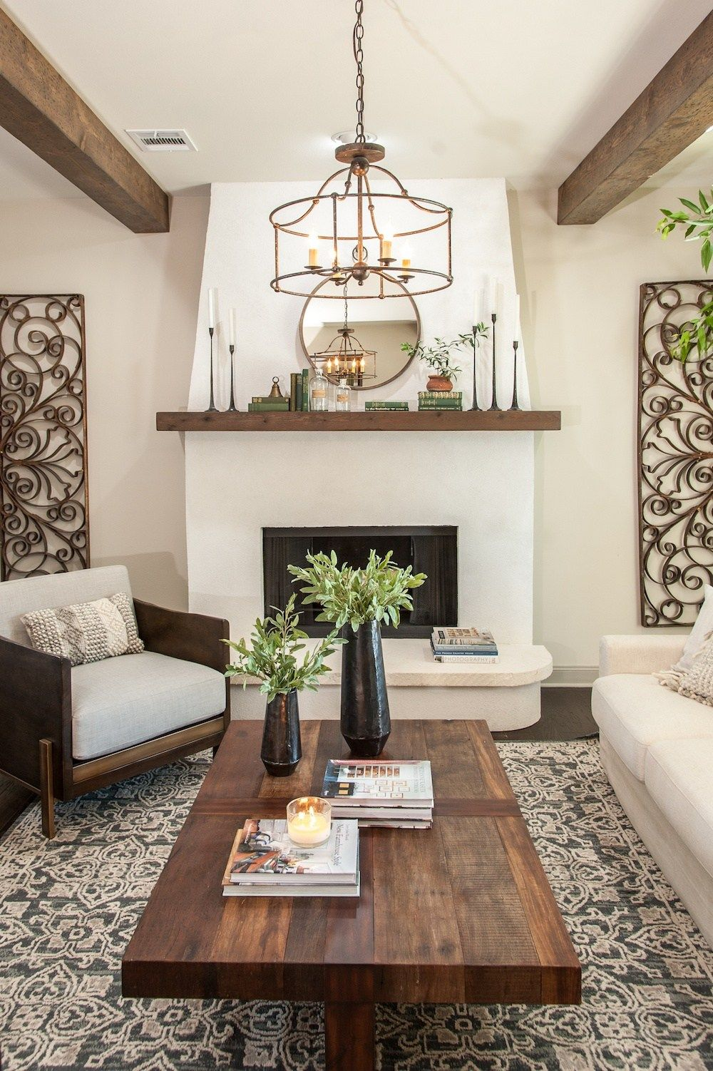 Get This Look Farmhouse Formal Living Room From Fixer Upper Hot Sauce House Mediterranean Living Rooms Farmhouse Style Living Room Formal Living Room Decor