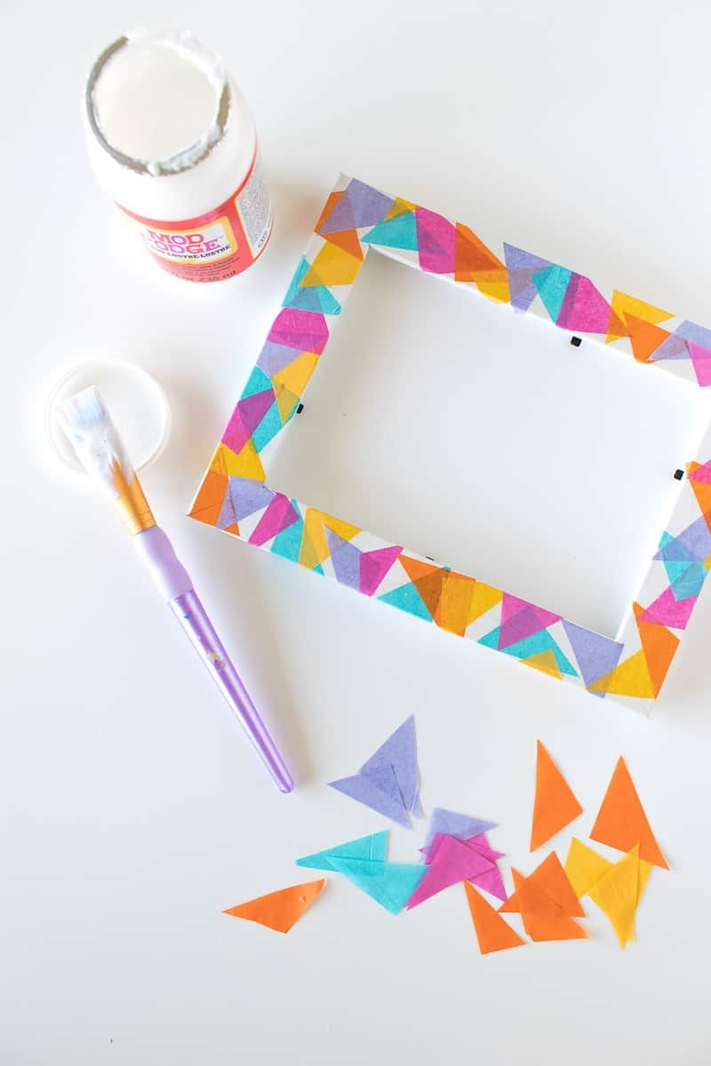 Colorful Geometric Frame Using Tissue Paper Mod Podge Rocks