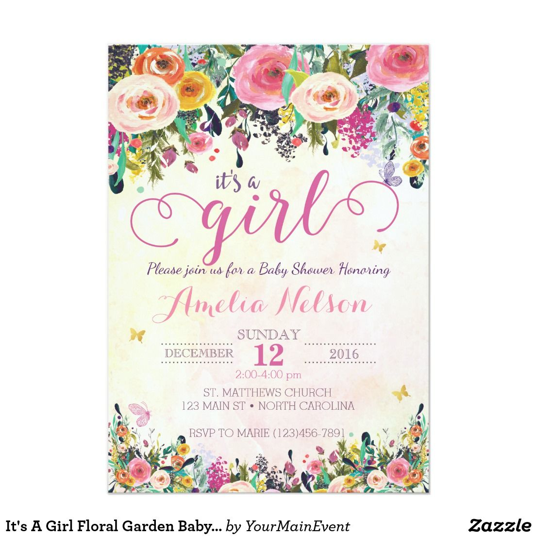 Its a girl floral garden baby shower invitation garden baby its a girl floral garden baby shower invitation this whimsical watercolor butterfly and flower invite will filmwisefo