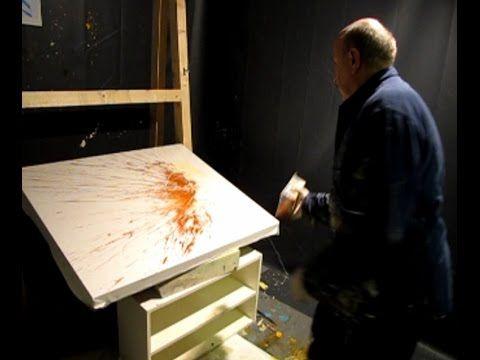 Abstrakt Painting live demonstration - Aktionsmalerei (gestisch-spontane Malerei) - YouTube