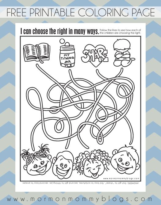Mormon Mommy Printables CTR Activity Sheet and Coloring