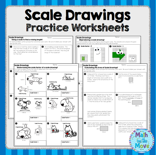 Scale Drawings Practice Worksheets And Assessment 7g1
