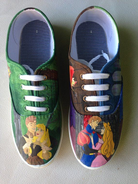 1c8c9da379a55 Sleeping Beauty/Briar Rose Painted Canvas Shoes | Products | Painted ...