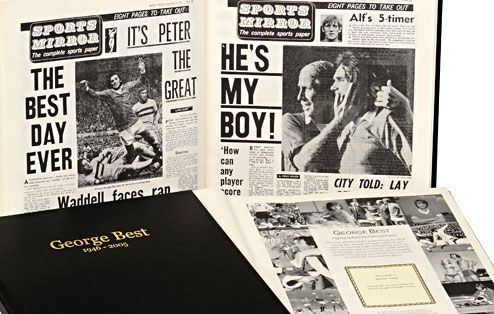 Relive the life and footballing career of George Best, through newspaper stories of the time, in this fascinating George Best Book.  Read about his mesmerising skills and his colourful lifestyle, all through newspaper coverage written by reporters who watched him play, both on the pitch and off it. #georgebest #football #footballgifts #footballlegends