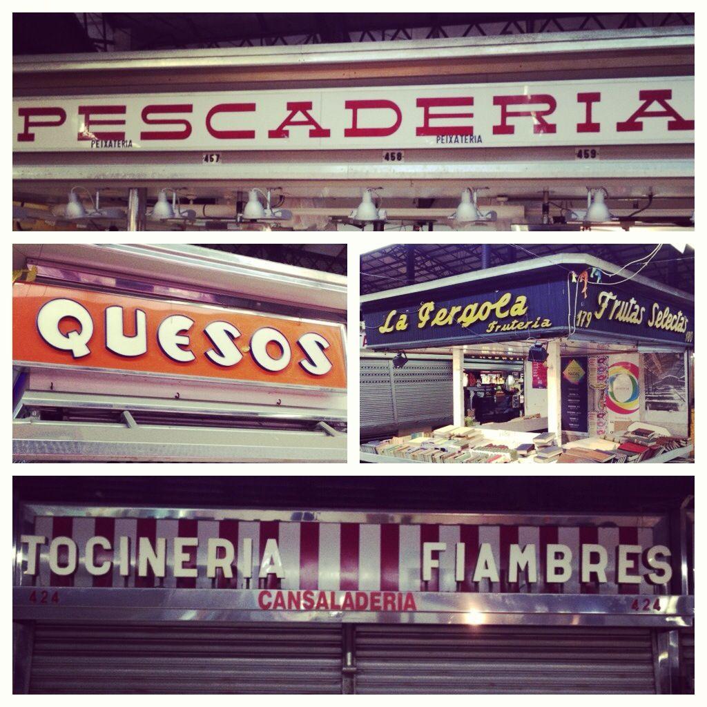 Great retro signage in local market Gracia Barcelona
