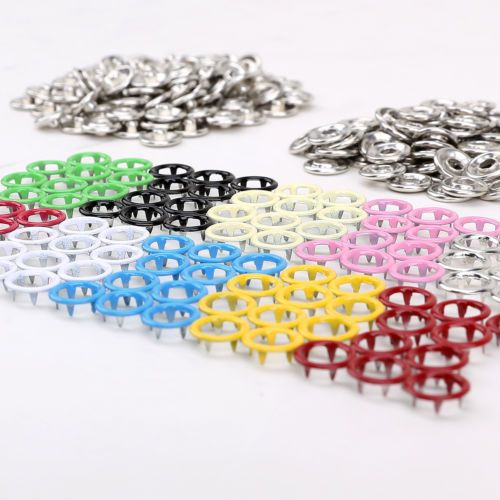 10 Prong Ring Snap Fastener Press Stud Popper 9.5mm Snap Buttons Various colours