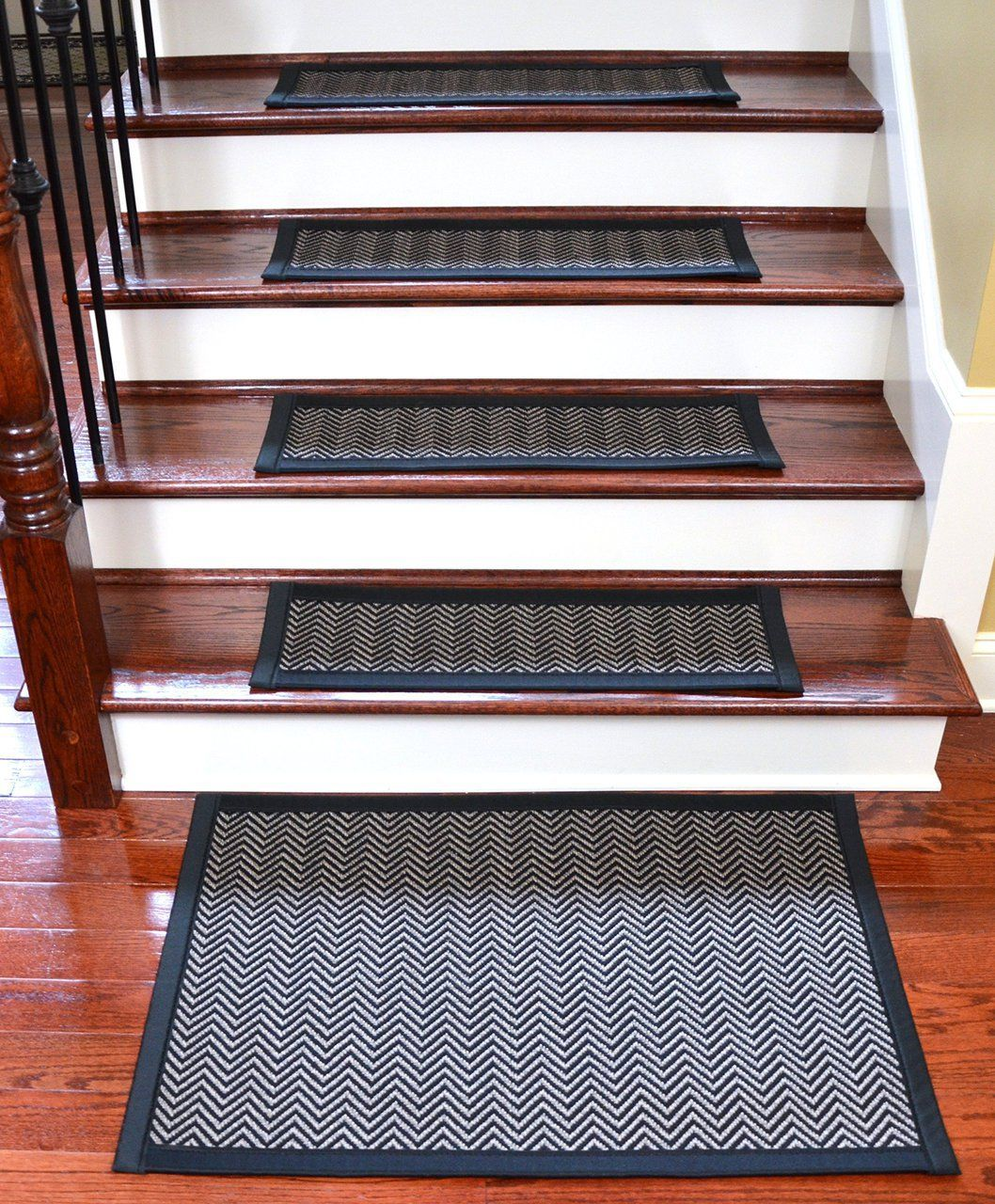 Dean Flooring Company Has 29X9 Chevron Black Hatteras Flatweave | Outdoor Carpet Stair Treads | Stair Runner | Rug | Stair Nosing | Slip Resistant | Flooring