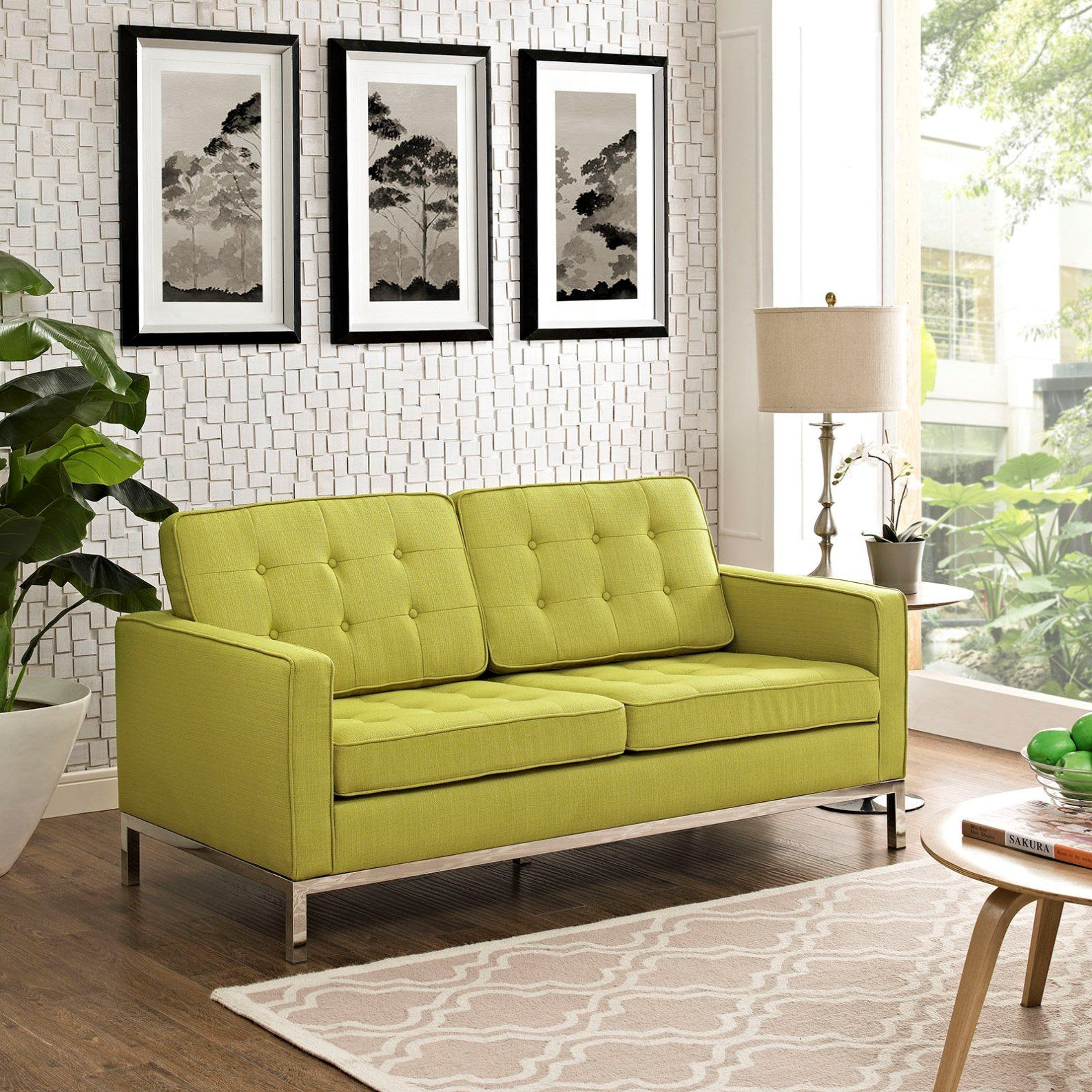 Modern Contemporary Urban Design Living Lounge Room Loveseat Sofa Green Fabric Read A Lot More Testimonials Of The Produc Love Seat Living Design Furniture