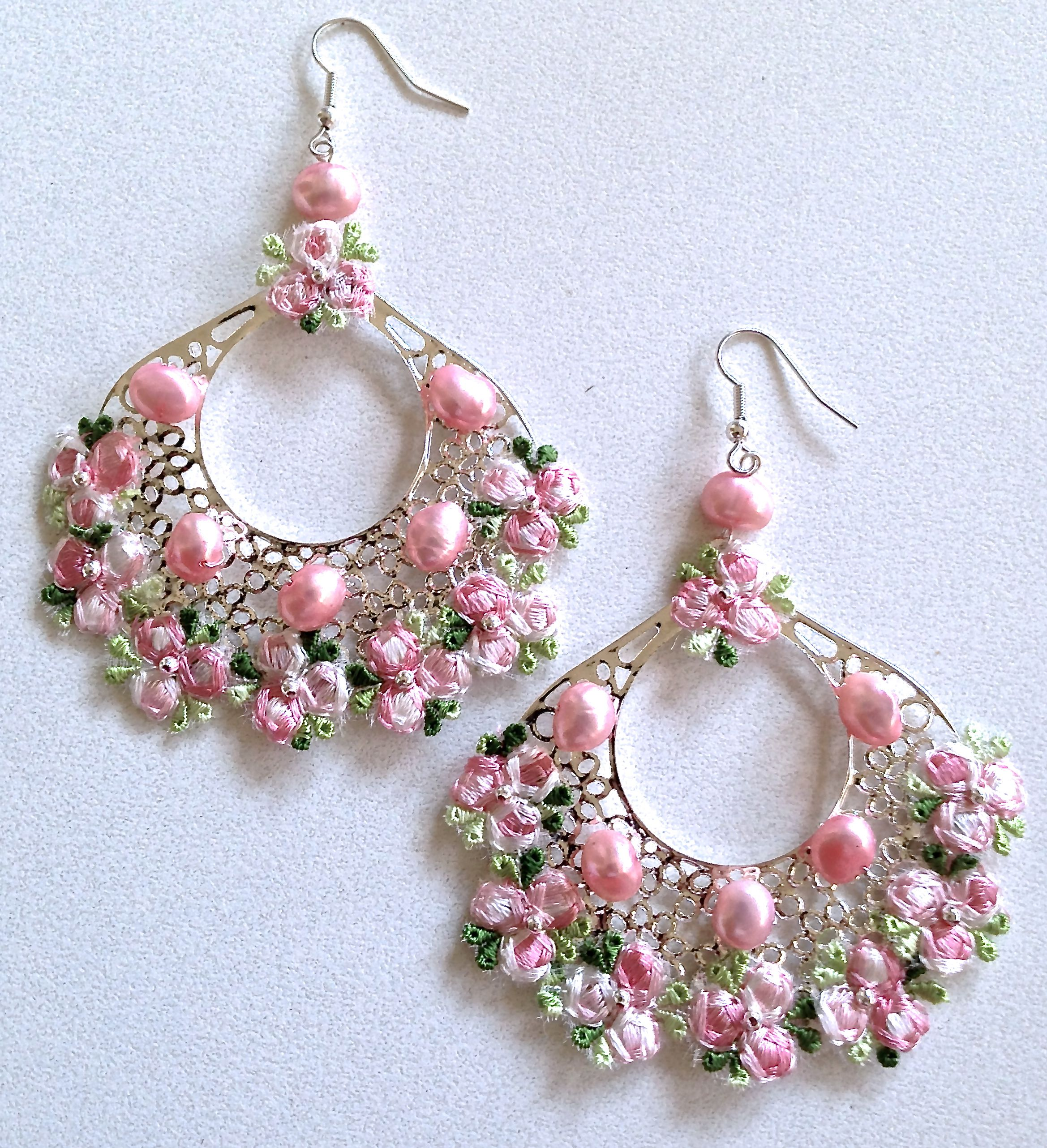 Pink Freshwater Pearls Amp Lace Chandelier Earrings By