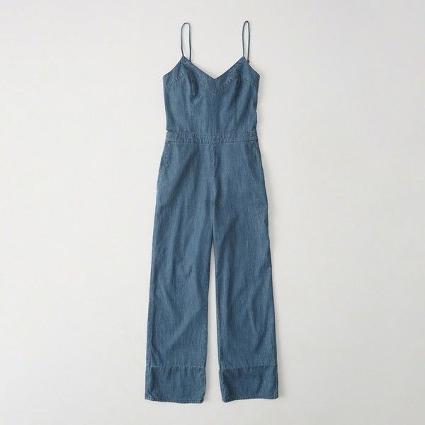 c3cdaba4cd Abercrombie   Fitch Bow-Back Denim Jumpsuit ( 47) ❤ liked on Polyvore  featuring jumpsuits