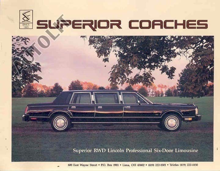 1988 Lincoln Continental Town Car 6 Door Limousine By Superior
