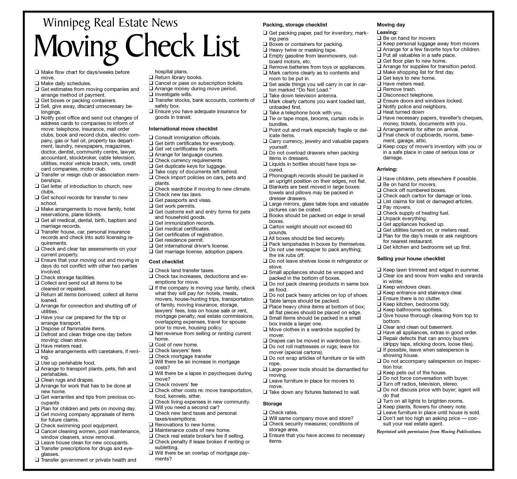 Moving Checklist Template  Moving    House