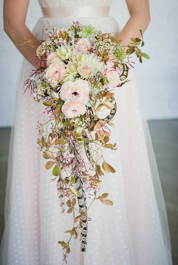 Fresh and unique spring wedding bouquet ideas for springtime brides cascading spring wedding bouquet idea by green goddess flower studio lauren kriedemann photography mightylinksfo