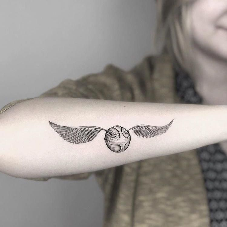 Simplicity Tattoo Minimalisttattoos In 2020 Snitch Tattoo Golden Snitch Tattoo Harry Tattoos
