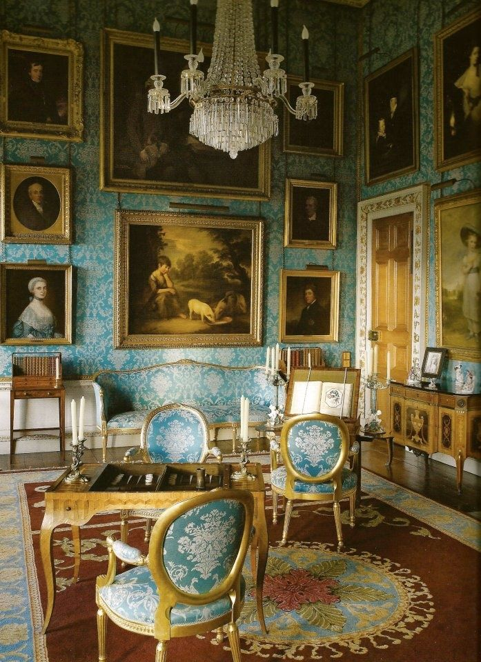 English Drawing Room: Magnificent Blue Wallpaper
