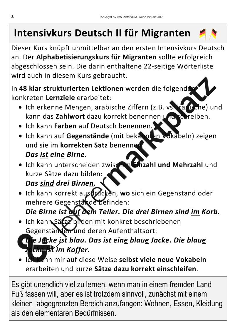 Die Fortsetzung des Alphabetisierungskurses für Migranten - der ...