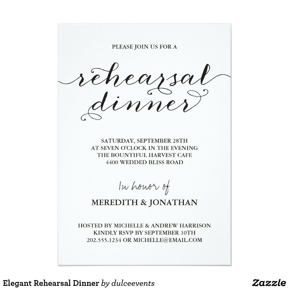 Elegant Rehearsal Dinner Card This elegant, black and white ...