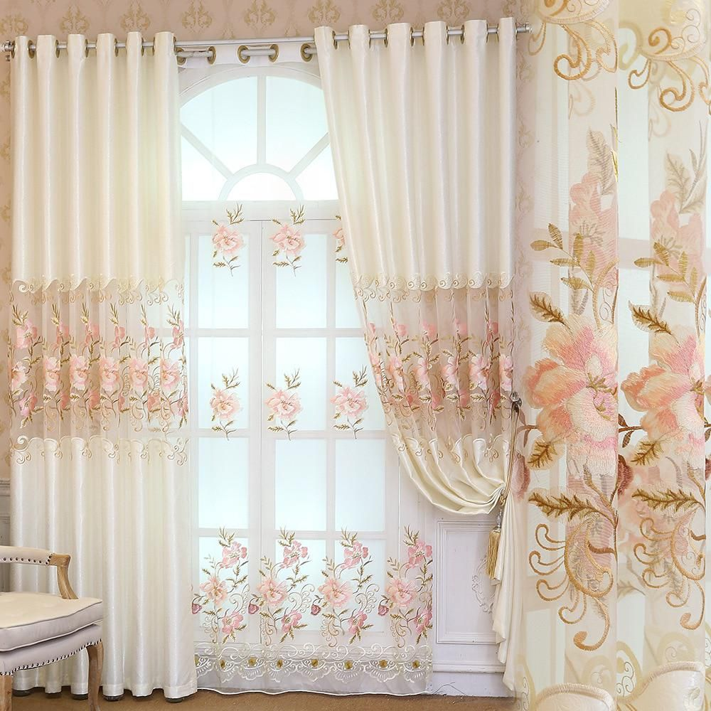 European Embroidery 100% Polyester Curtains Bedroom Luxury