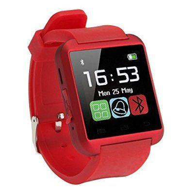 Amazingforless Red Bluetooth Touch Screen Smart Wrist Watch Smart Watch Iphone Bluetooth Fitness Watch Tracker