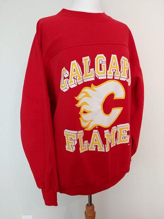 info for f4ec1 277b1 Vintage Calgary Flames 1990 Sweatshirt/ Retro Calgary Flames ...