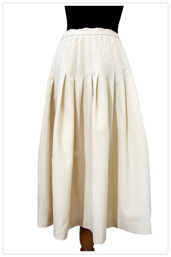 vintage 60's 70's pale yellow pleated midi skirt by jebraa, $19.00