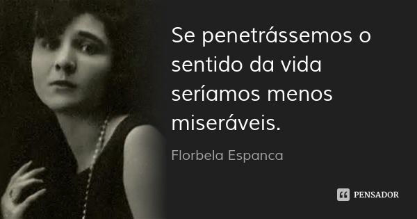 Se penetrássemos o sentido da vida seríamos menos miseráveis. — Florbela Espanca