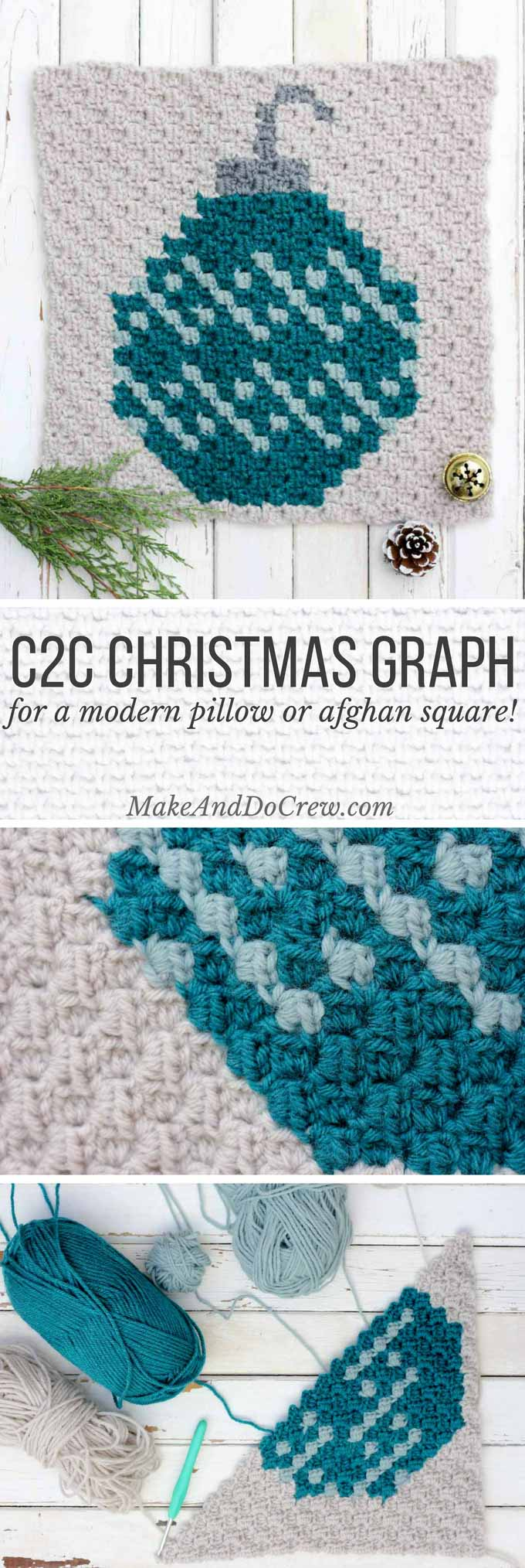 This C2C crochet Christmas pattern is the second in my free afghan series. This monochromatic bulb ornament would work great as a festive pillow front too! Click to download the other free graphs for this festive, modern afghan!