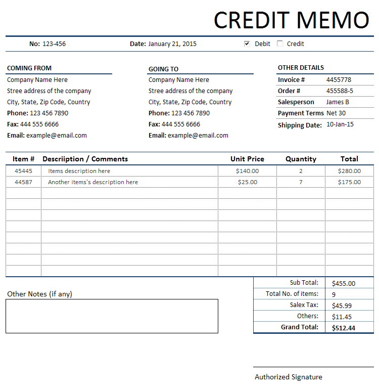 credit memorandum memo invoice bills invoices and receipts