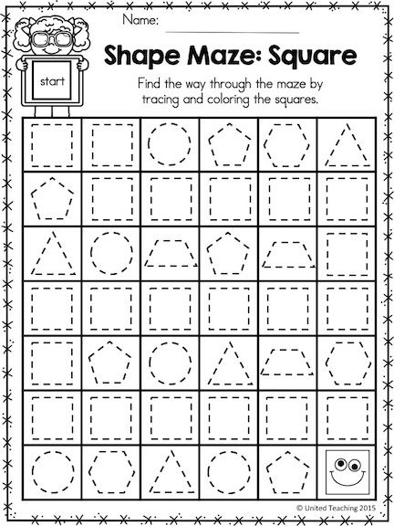 Practice Identifying And Drawing 2d Shapes With Mazes Part Of The Shapes No Prep Activi Math Center Activities Prewriting Skills Shape Activities Kindergarten Identifying 2d shapes worksheets