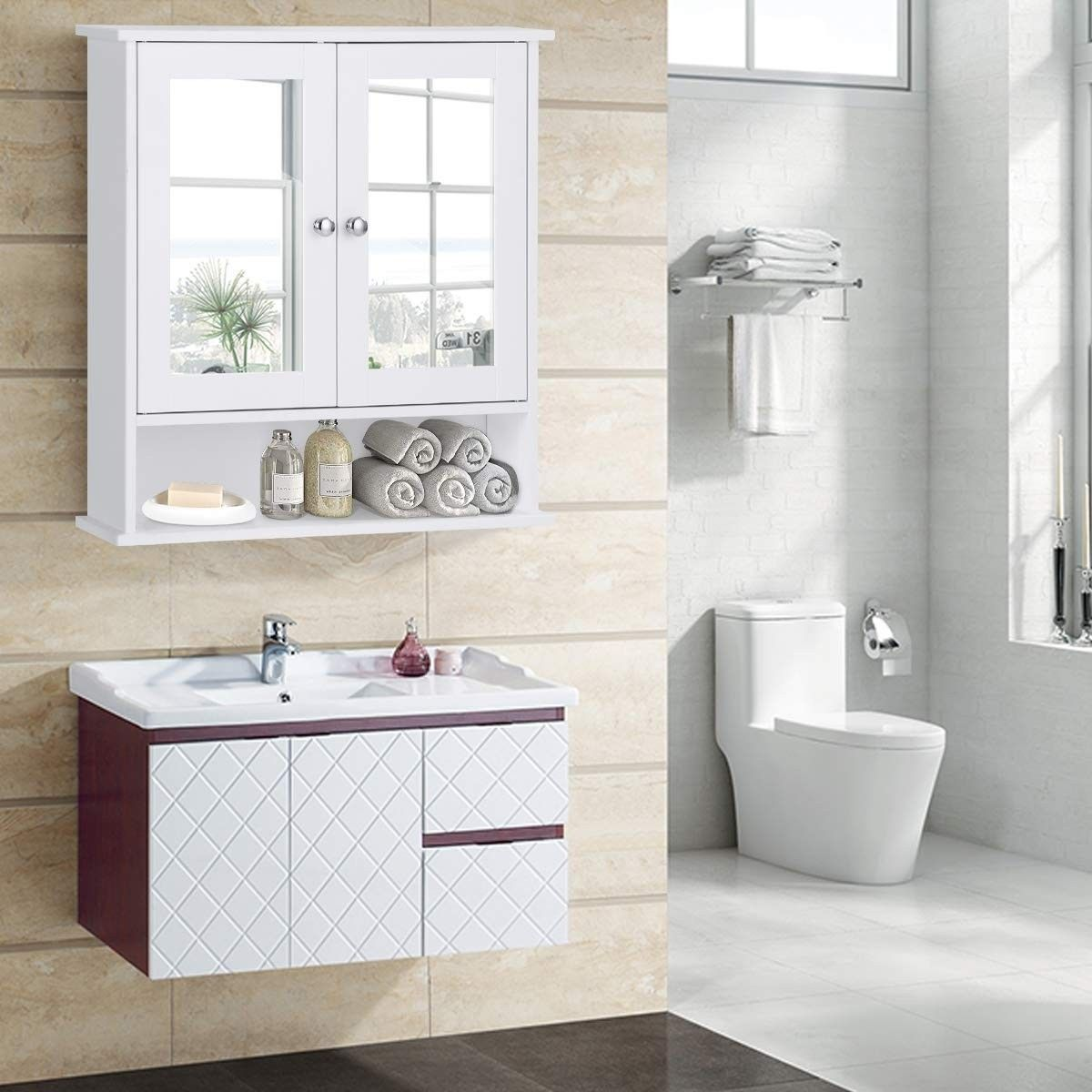 Bathroom Wall Cabinet With Double Mirror Doors 55 95 Free Shipping This Stunning Double Door Mirrored Wall Bathroom Wall Cabinets Bathroom Cabinets Cabinet