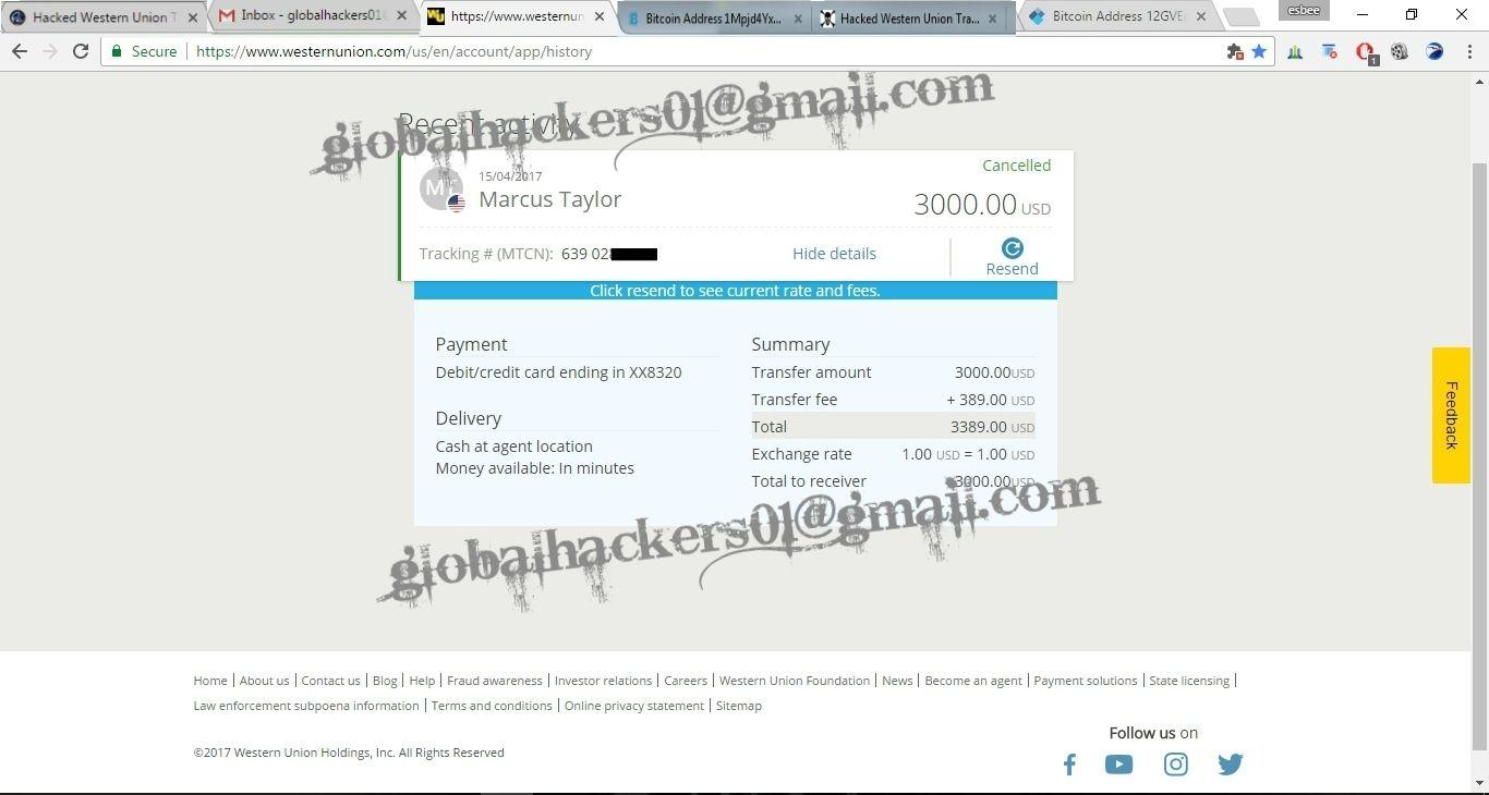 Hacked Western Union Transfer Paypal Bank Moneygram Logins Cctop Up Visit Www Globalhackers Ru