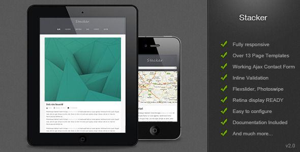 Stacker - Responsive HTML5/CSS3 Mobile Template | HTML/CSS
