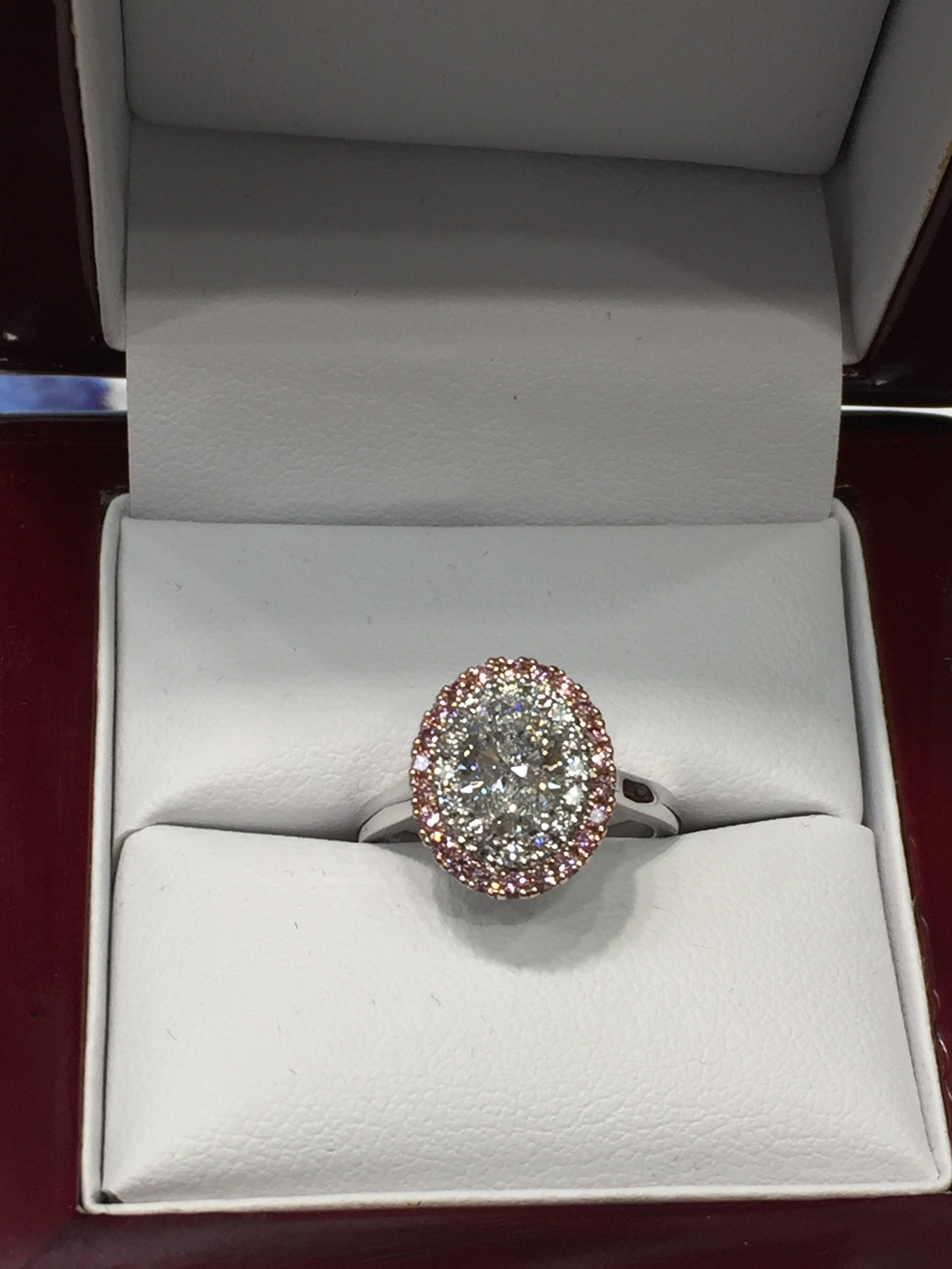 Argyle Pink Diamond Double Hallow With Oval Diamond Hand Made By