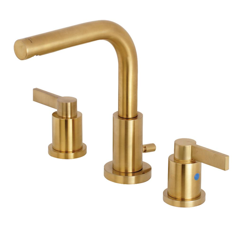 Kingston Brass Emilia 8 In Widespread 2 Handle High Arc Bathroom Faucet In Brushed Brass Hfsc8953ndl The Home Depot Bathroom Faucets Brass Bathroom Faucets Widespread Bathroom Faucet [ 1000 x 1000 Pixel ]