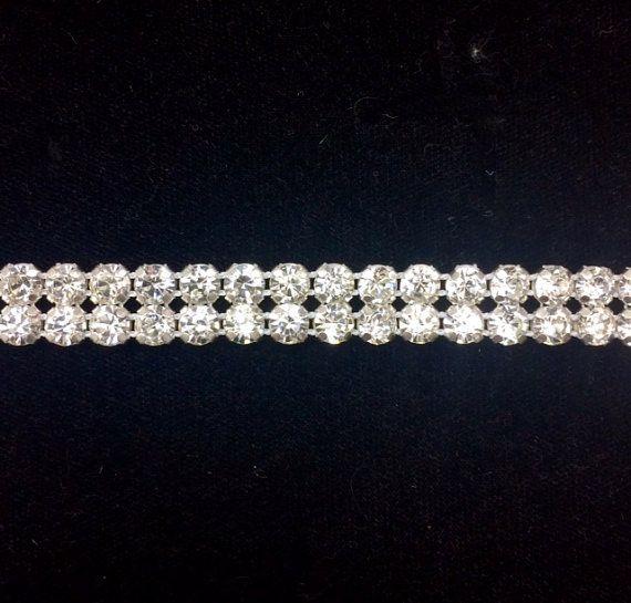 2 Row Rhinestone Banding Trim / Crystal /silver setting