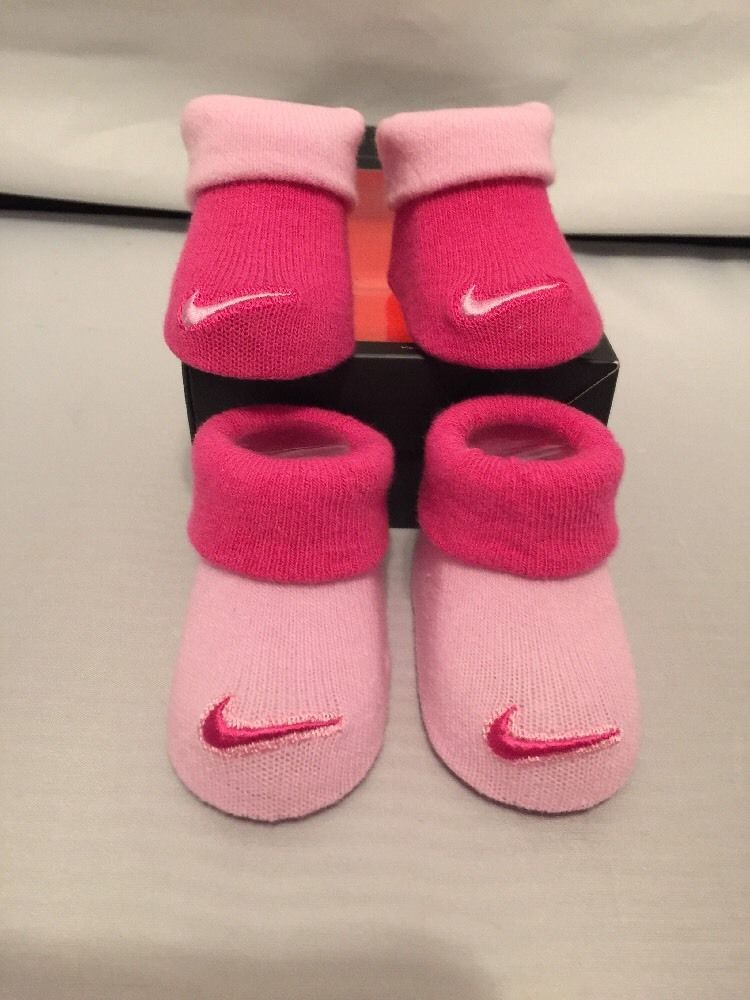b9bc3f43f405 Nike Newborn Pink Infant Booties Baby Girls Pink Socks Booties Size 0 6  Months