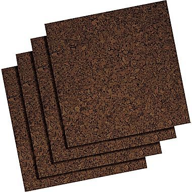 Staples Frameless Dark Cork Tiles 12 X 12 4 Pk At Staples Cork Panels Cork Bulletin Boards Cork Tiles