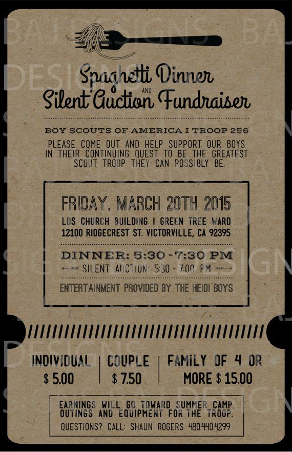 Fundraiser ticket design spaghetti dinner silent by for Fundraiser dinner tickets template
