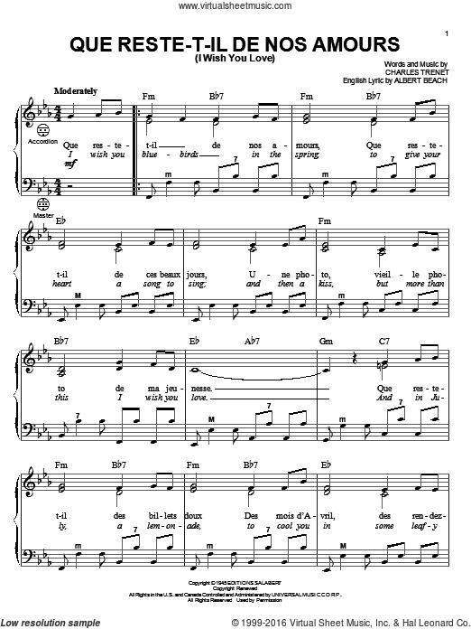Que Reste T Il De Nos Amours : reste, amours, Trenet, Reste-T-Il, Amours, Love), Sheet, Music, Accordion, Music,, Virtual