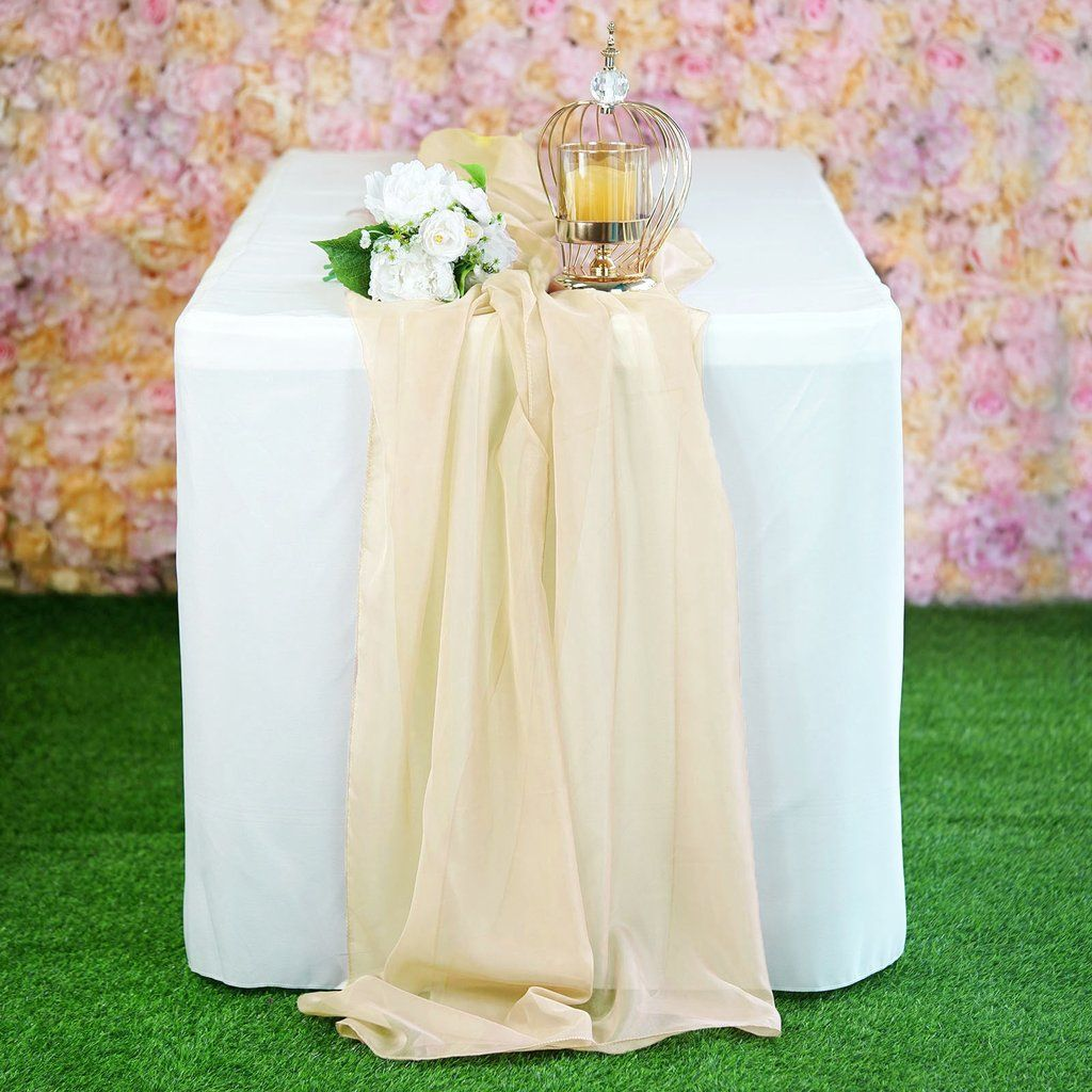 6 Ft Champagne Premium Chiffon Table Runner Table Runners Wedding Wedding Table Themes Wedding Candles Table