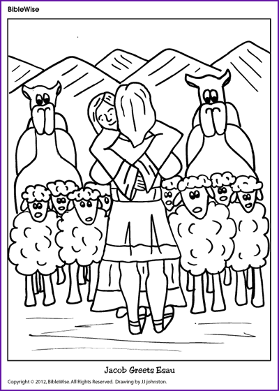 coloring jacob greets esau kids korner biblewise