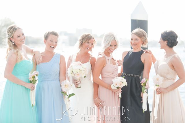 Mismatched Multicolor Bridesmaids Dresses Balboa Bay Resort