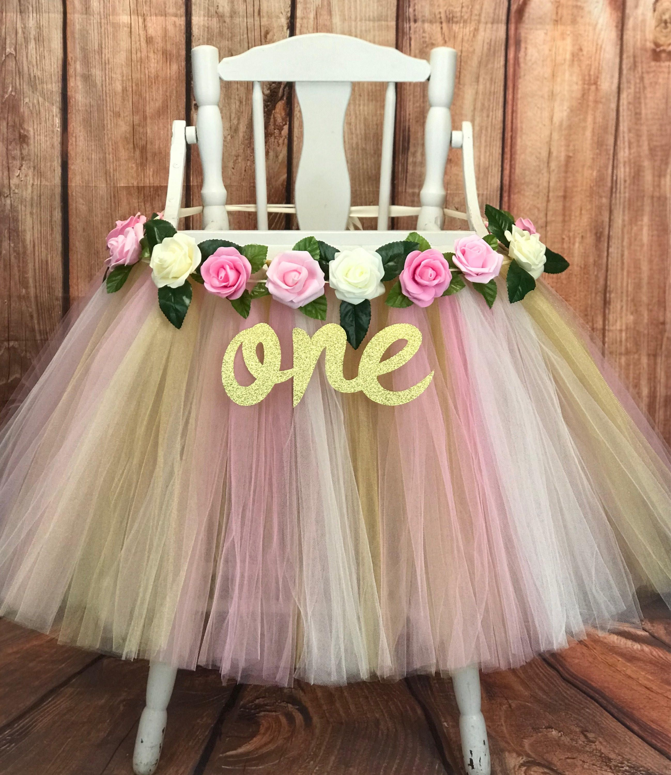 Pink And Gold Floral First Birthday High Chair Tutu Etsy Baby Girl First Birthday Girl First Birthday Baby Girl 1st Birthday