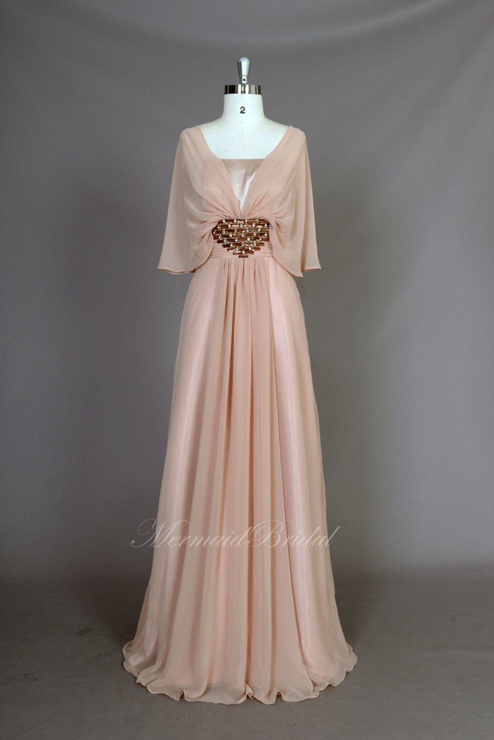 New arrival champagne chiffon modest prom dress prom evening gowns