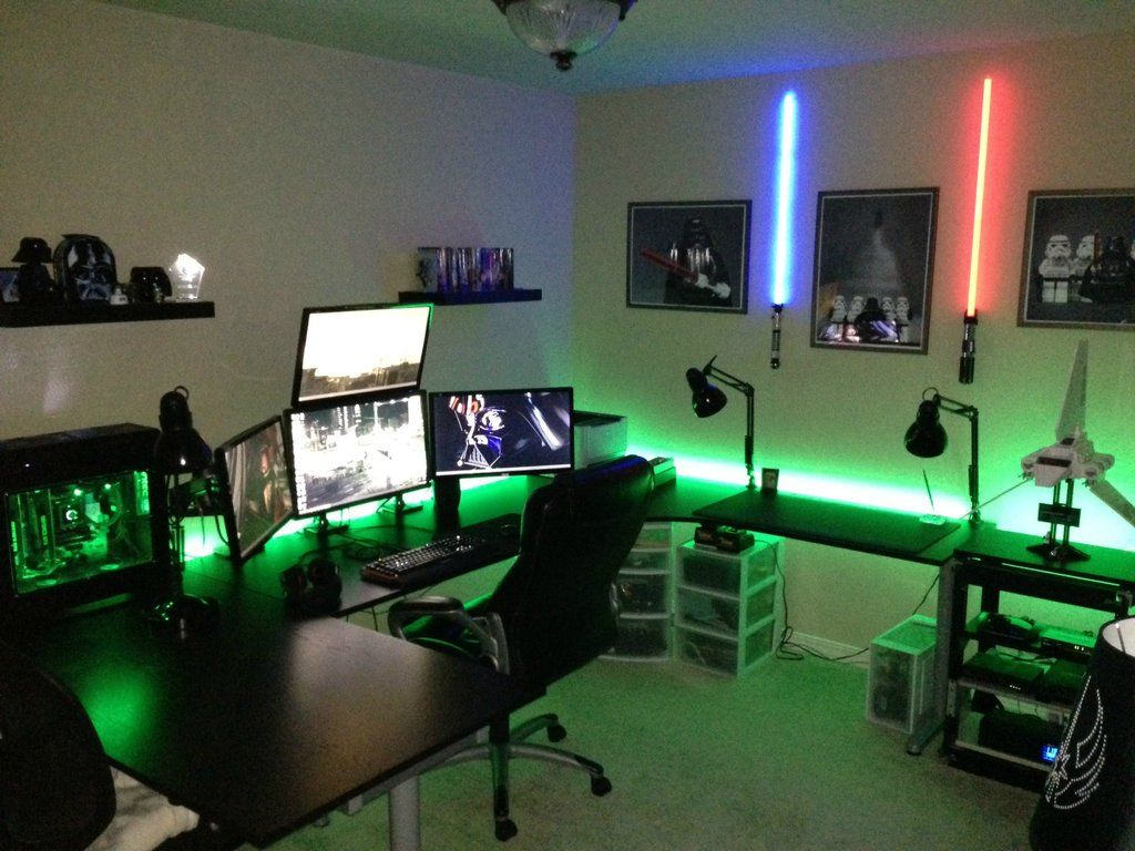 desk setup computers gaming gaming bedroom guy bedroom video game