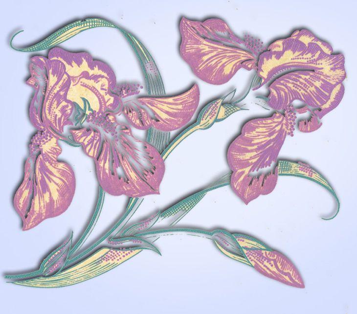 1950s Pretty Flowers Vogart Textilprint 472 Color Hot Iron Transfer Uncut ORIG #VogartTextilprints