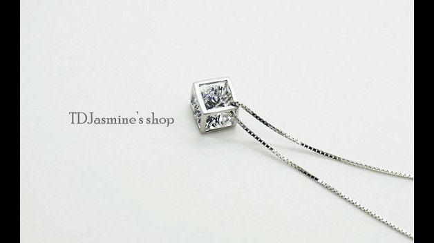 Cube Stone  Sterling Silver Necklace -  Abjustable